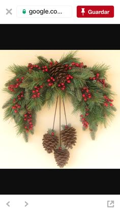 Winter Pine Swag Wreath by Ghirlande on EtsySwag with pineconesOhhh My Holiday Season Loooving Heart ♥️THIS is just Perfect for over our archway.Il piccolo Istrione - Welcome, Friends !Christmas decorations with pine cones. Christmas Swags, Christmas Door, Holiday Wreaths, Rustic Christmas, Winter Christmas, Christmas Holidays, Christmas Ornaments, Christmas Wreaths To Make, Pinecone Christmas Crafts