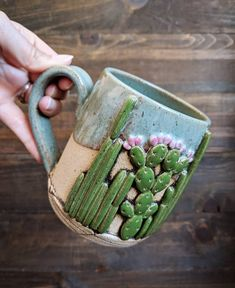 Seedling Clayworks is a one-woman pottery studio in Arizona. Samirah is owner and artist of Seedling Clayworks, and her cactus mugs just can't be beat! Slab Pottery, Ceramic Pottery, Ceramics Pottery Mugs, Porcelain Ceramics, Pottery Vase, Clay Mugs, Wheel Thrown Pottery, Cactus Decor, Ceramic Pots