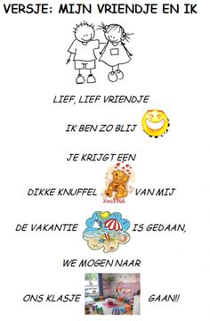 Versje: 'Mijn vriendje  ik' Back 2 School, First Day Of School, Learn Dutch, School Themes, Love My Job, Poems, Classroom, Letters, Learning