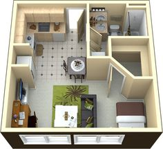 Apartment Floor Plan how about a barn door instead for the bathroom? and dining area could be tweeked to incorporate some more storage/counter space.