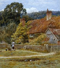 Netley Farm, Shere, Surrey Art Print by Helen Allingham - WorldGallery.co.uk