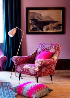This statement chair embodies the elegance of mid-century design. Vintage curves and button detailing heighten the aesthetic whilst splayed ebony and brass legs complete the look. Meanwhile, the Butterfly Wheel was first seen on the catwalk for the spring/summer 2008 ready-to-wear collection. This textile is designed with an ombre of berry shades melting through the patterns of a butterfly wing. The Tango Chair can be created bespoke to your tastes in one of 40 exclusive fabrics.