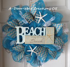 There's no place like the Beach..Deco Mesh by ADoorableCreations05, $75.00