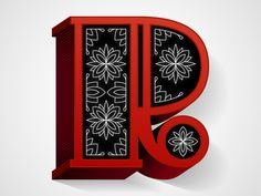 lettersnumbersandglyphs:    R Pattern within three dimensional type. Type as a physical object almost