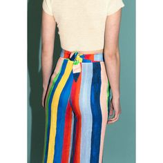 Mara Hoffman Rainbow Stripe Tie Front Pant ($295) ❤ liked on Polyvore featuring pants, capris, cropped pants, high waisted striped pants, tie front pants, tie pants and high-waisted pants