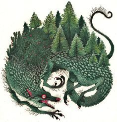 Monstrous Dogs Overgrown with Greenery Illustrated by Holly Lucero