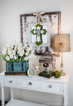 Create a warm and inviting entryway to welcome guests for Easter.