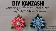 "Learn how to create different sized Kanzashi Petals made with 1-1/2"" squares of grosgrain ribbon, satin ribbon or gingham ribbon from Really Reasonable Ribbo..."
