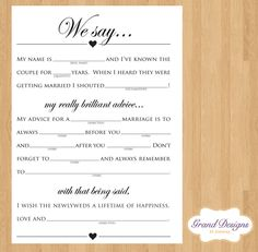 wedding advice cards $5.00