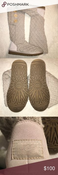 LATTICE UGG BOOTS worn once only to try on- size 8! super comfy and stylish ugg boot! light gray with tan buttons- can be worn buttoned up or folded down! feel free to make an offer! UGG Shoes