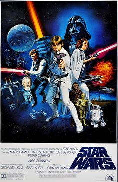 Star Wars: Episode IV - A New Hope in US theaters May 1977 starring Mark Hamill, Harrison Ford, Carrie Fisher. After finding a pair of droids, Luke Skywalker leaves his home planet to save Princess Leia from the clutches of Darth Vader. Star Wars Poster, Poster S, Poster Prints, Poster Wall, Movie Prints, Canvas Poster, Art Prints, Star Wars Episódio Iv, Star Wars Font