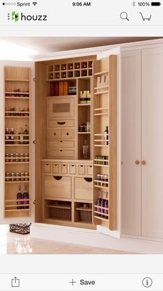 pantry cabinet A collection of 15 Handy Kitchen Pantry Designs With A Lot Of Storage Room featuring ideas for storage solution in your kitchen. Kitchen Pantry Design, Kitchen Pantry Cabinets, Design Your Kitchen, Kitchen Organization, Kitchen Storage, Storage Room, Kitchen Ideas, Pantry Ideas, Storage Ideas