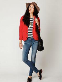 Love the red blazer/striped tee combo, so cute!