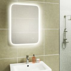 HIB Ambience 50 LED Steam Free Bathroom Mirror, quality steam free bathroom mirror with LED energy saving lighting, low online price with fast delivery Steam Free, Bathroom Dimensions, Led Mirror, Family Bathroom, Bathroom Cabinets, Save Energy, Sink, Bathtub