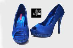 Bordello BELLA-12R Royal Blue Satin Pumps Satin Pumps, Peep Toe Pumps, Stiletto Heels, Royal Blue Heels, Blue Satin, Peeps, Platform, Shoes, Fashion
