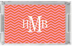 Monogrammed Lucite Tray by Pink Wasabi Ink CHEVRON CHIC
