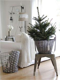 Kleines Bäumchen in einem Korb. Kleiner Aufwand, große Wirkung! Es braucht nicht viel, um es schön weihnachtlich zu machen.