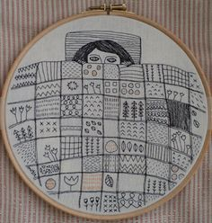 Girl under a patchwork quilt embroidery - this would be fun to make with Zentangle doodles in the squares