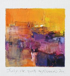 July 14, 2015 - Original Abstract Oil Painting - 9x9 painting (9 x 9 cm - app. 4 x 4 inch) with 8 x 10 inch mat