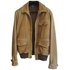 d435bc7390fc Pre-owned Polo Ralph Lauren Camel Leather Jacket ( 447) ❤ liked on Polyvore