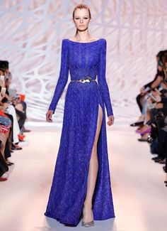 Beaded gown in sapphire wave with boatneck and high slit