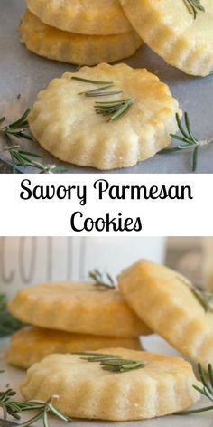 Savory Parmesan Cookies - great as an appetizer, snack or serve with your favorite soup or stew! #appetizers #dinnerideas #sidedish #parmesan #easyrecipes #baking #cookies Wine Appetizers, Appetizer Recipes, Snack Recipes, Savory Snacks, Appetizers For Party, Cookie Recipes, Appetizer Dessert, Dessert Recipes, Tapas Recipes