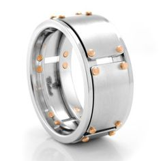 Cobalt Chrome Mens Wedding Band with Rose Gold rivets #TitaniumJewelry