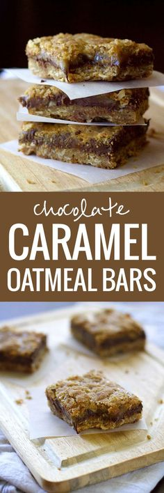 Chocolate Caramel Oatmeal Bars with an ooey-gooey-chocolate-caramel middle layer, and a buttery-soft oatmeal cookie crust.