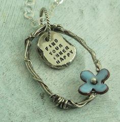 Find Your Inner Happy -  in sterling silver with enameled flower by Kathryn Riechert. $78.00, via Etsy.