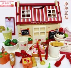Wooden children's gift Strawberry ice cream restaurant pastry cut  for  joy  play  house  toy