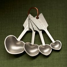 heart measuring spoons - hand cast pewter | Beehivekitchenware on Etsy
