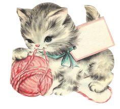 Animated Cats, Kittens and Kitties by Glenda Vintage Abbildungen, Vintage Artwork, Vintage Prints, Vintage Birthday Cards, Vintage Greeting Cards, Vintage Postcards, Vintage Pictures, Vintage Images, Cat Cards