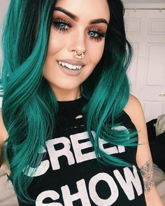 Part 6 emerald green hair, green hair ombre, purple and green hair, teal . Green Hair Ombre, Turquoise Hair Ombre, Purple And Green Hair, Emerald Green Hair, Ombre Blond, Teal Hair, Hair Color Pink, Cool Hair Color, Green Gem