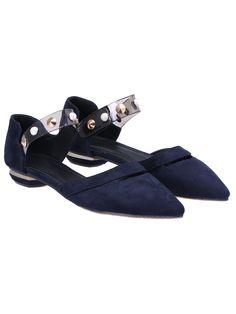 Blue Rivet Point Toe PU Flats-SheIn