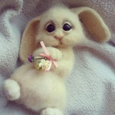 """Купить Зайка"""" Прелесть"""" - белый, шерсть, валяние из шерсти, валяная игрушка, зайка, заяц"""