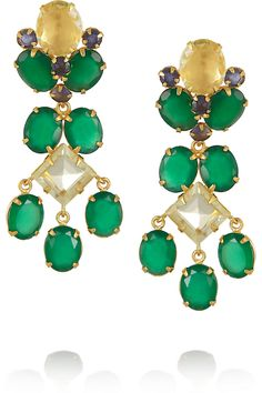 Bounkit | 24-karat gold-plated onyx and quartz clip earrings | NET-A-PORTER.COM