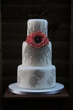 white and silver gray wedding cake - Cake by beth