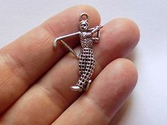 4 Golf Charms  Man Golf Pendant  S0104 by StashofCharms on Etsy
