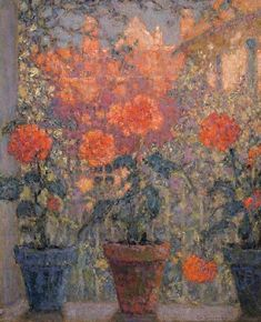 ❀ Blooming Brushwork ❀ - garden and still life flower paintings - Henri Sidaner | Les trois pots de fleurs