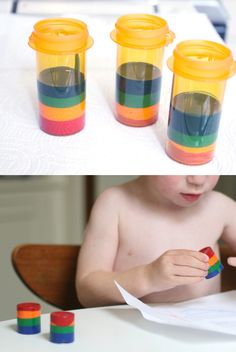 Melt down old crayons to make new ones, using old prescription bottles or film canisters.