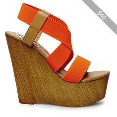 ef6691614d9 Steve Madden Women s Gandy Platform Wedges Orange Sandals