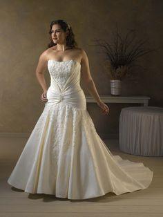 tafetta strapless plus size wedding gowns #194 - Oni Wedding