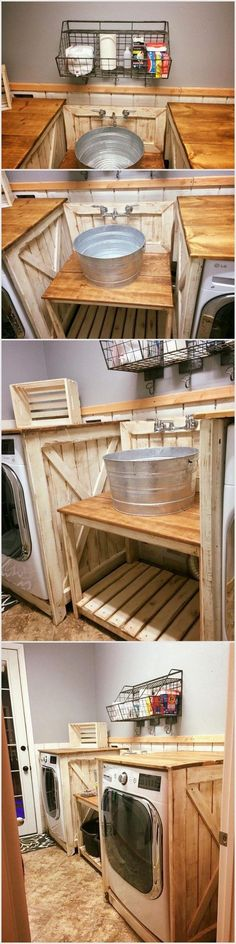 It is a very useful project which you all would need in your kitchen. We have not repurposed the chemically treated old wooden pallets. You can fix oven in this project and also add taps in it for your convenience. Pallet Home Decor, Pallet Patio Furniture, Pallet Crafts, Country Furniture, Diy Pallet Projects, Pallet Ideas, Furniture Projects, Wood Projects, Rustic Bathroom Designs