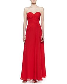 Strapless Draped Gown, Red