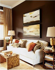 Brown Interior Design Livingroom Murs Marron Cream Living Rooms And Gold