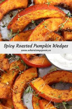 Spicy oven-roasted pumpkin wedges. This is the best recipe for roasting pumpkin there is, learn how to cook roast pumpkin the perfect way. #whereismyspoon #pumpkin #roastedpumpkin #spicypumpkin #pumpkinwedges #howtocookroastpumpkin Pumpkin Recipes Spicy, Roasted Vegetable Recipes, Vegan Recipes Plant Based, Roast Recipes, Oven Recipes, Vegetarian Recipes, Cooking Recipes, Roasted Pumpkin Recipe, Dinner Recipes