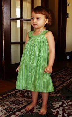 Upcylced men's shirt into cute toddler dress.