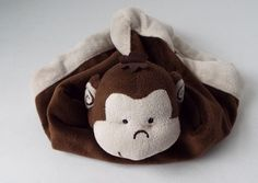 Tiddliwinks Plush Brown Monkey Baby Security Blanket w Cream Plush Edge Jungle #Tiddliwinks