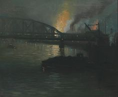 Aaron Harry Gorson (American, 1872-1933), Pittsburgh Steel Mills at Night. Oil on canvas, 20 x 24 in.