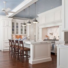 Painted wood ceiling in kitchen